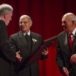 Bro. William Mann (Saint Mary's President) and Mike Gostomski (Saint Mary's Board of Trustees Chair) present an award to Bro. Álvaro Rodríguez Echeverría (Superior General).