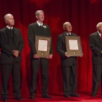 Awardees Bro. Robert Schieler (General Councilor), Bro. Dennis Malloy (District of Eastern North America Visitor), Bro. Larry Schatz (Midwest District Visitor), Bro. Álvaro Rodríguez Echeverría (Superior General), and Mike Gostomski (Saint Mary's Board of Trustees Chair)