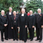 Brothers Michael McGinniss (La Salle University President), Larry Schatz (Midwest District Visitor), Álvaro Rodríguez Echeverría (Superior General), William Mann (Saint Mary's President), Robert Schieler (General Councilor), and Ronald Gallagher (Saint Mary's College of California President)