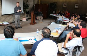 Brother Charles Kitson, FSC, presents to the group