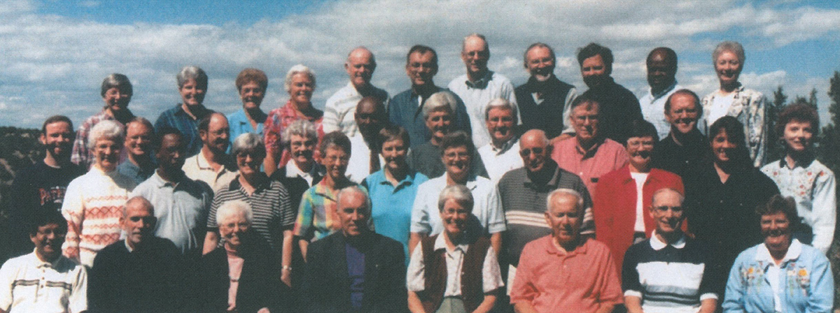 Sangre de Cristo 75th Session in Fall 1999. Charles Maung Bo is in the first row to the far left.