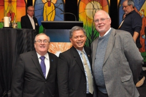 From left: Brother Michael Quirk, FSC, of Christian Brothers Services, Saturday's keynote speaker, Brother Armin Luistro, FSC, secretary of the Department of Education, Philippines and Mark Freund, Executive Director of the Office for Lasallian Education