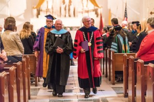 (From left) Brother Thomas Johnson, FSC, and Saint Mary's College of California President James Donahue, during the Commencement Mass. Courtesy Saint Mary's College of California