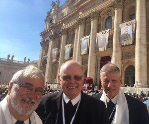 From left, Brothers Peter Tripp, [Thomas Hetland Kenneth Arnold] celebrate the canonization at Saint Peter's Square. Courtesy Christian Brothers Services