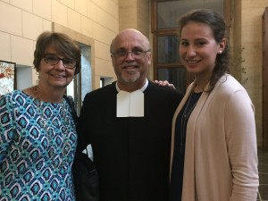 Karen Hulick, left, and LV Rebecca Hulick, right, meet Brother Superior General Brother Schieler, FSC, center, at canonization celebrations. Courtesy Maryann Donohue-Lynch