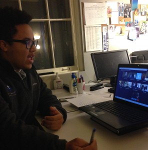 Taji Chesimet, De La Salle North Catholic student, participates in the Skype.